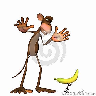 Ant Stealing a Banana