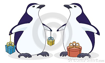 Antarctic penguins with gift boxes