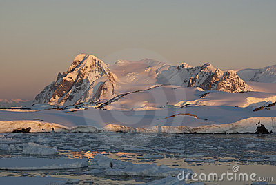 The Antarctic winter at sunset.