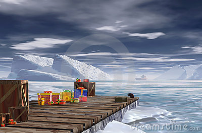 antarctic wooden pier