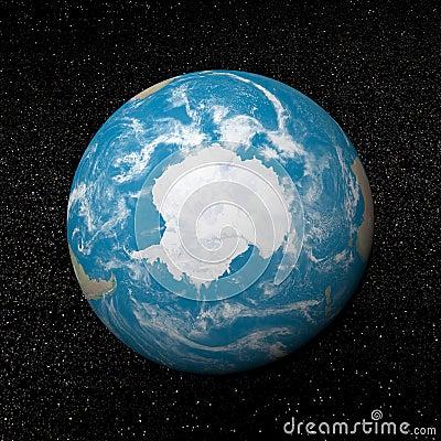 Antarctica on earth - 3D render