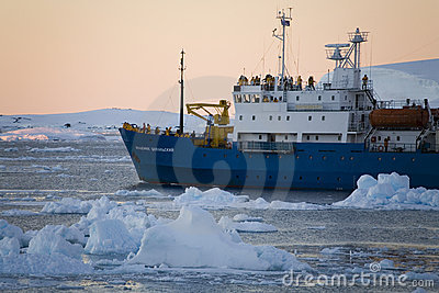 Antarctica - Tourist boat - Lamaire Channel Editorial Image