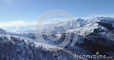 Antena inversa no pico de montanha branco da neve no vale de revelação do inverno Forest Woods Establisher nevado das montanhas c filme