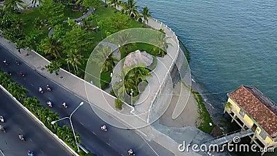 Antenn för hav för fartyg för Nha Trang stadsbro lager videofilmer