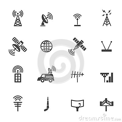 Free Antenna And Satellite Icons Stock Photography - 54019442