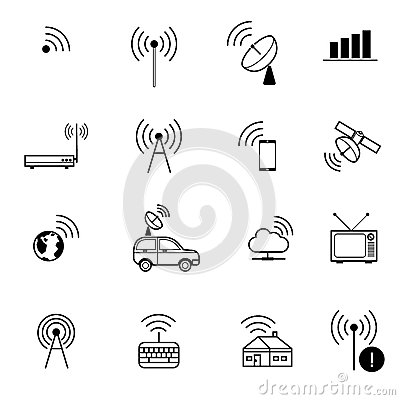 Stock Illustration Antenna Remote Wireless Communication Vector Icon Set Different Wifi Icons Access Via Radio Waves Image54028445