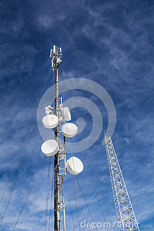 Free Antennas On Mobile Network Tower On A Blue Sky . Global System For Mobile Communications. Royalty Free Stock Image - 50651376