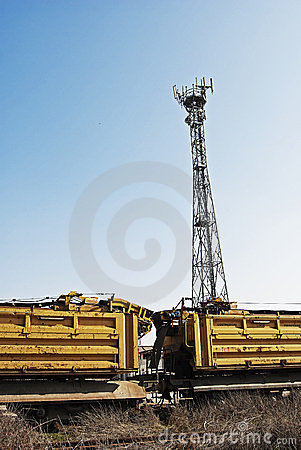 Antennas tower in rail station