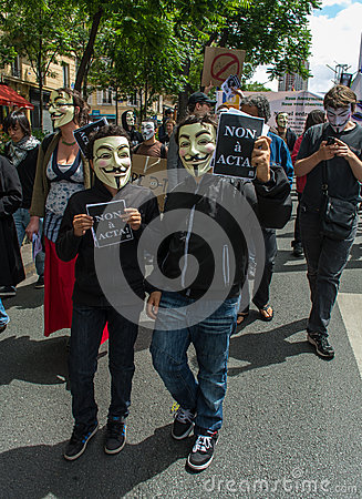 Anti ACTA Internet Counterfeit Accords Law, Editorial Image