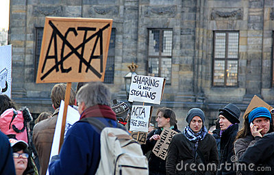 Anti-ACTA protest in Amsterdam, the Netherlands Editorial Image