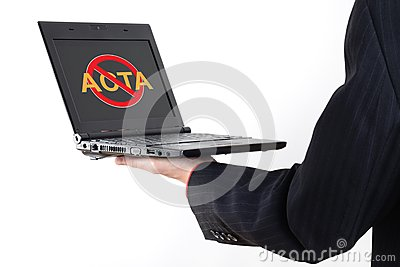 Anti Acta symbol on netbook