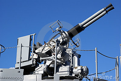 Anti Aircraft Turret Defense Guns on a Navy Ship