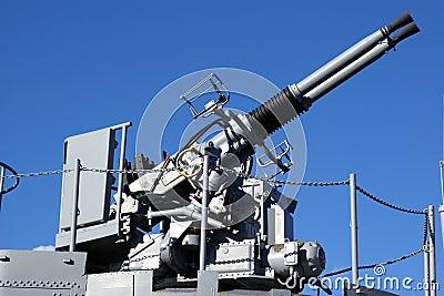 Anti Aircraft Turret Defense Guns on a Navy Ship
