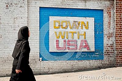Anti american mural message in teheran iran Editorial Image