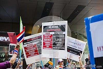 Anti-amnesty bill protest in Bangkok Editorial Photography