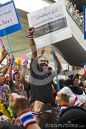 Anti-amnesty bill protest in Bangkok Editorial Stock Image