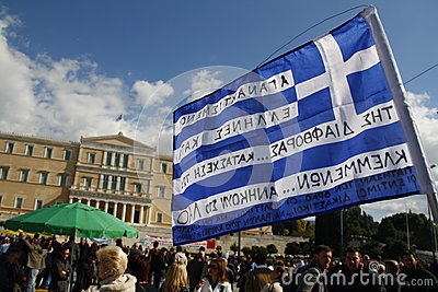 Anti-austerity protest in Athens ends with minor scale clashes Editorial Stock Photo