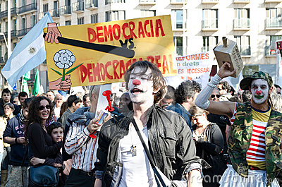 Anti capitalism demonstration on May Day 2012, Bar Editorial Photo