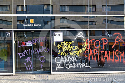 Anti capitalism demonstration on May Day 2012, Bar Editorial Stock Photo