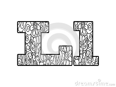 Anti Coloring Book Alphabet, The Letter L Vector Illustration Vector ...