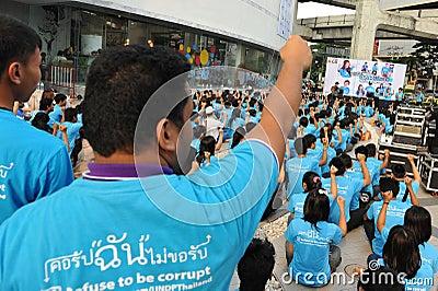 Anti-corruptie Verzameling in Bangkok Redactionele Stock Foto