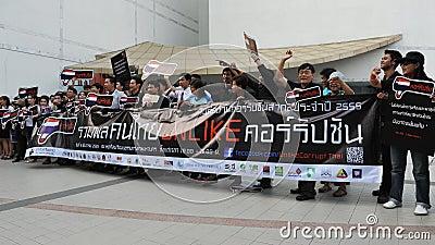 Anti-Corruption ралли в Бангкок Редакционное Фотография
