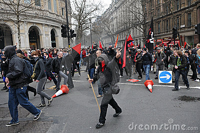 Anti-Cuts Protest in London Editorial Stock Photo
