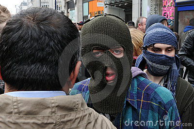 Anti-Cuts Protester in London Editorial Photo