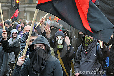 Anti-Cuts Protests in London Editorial Stock Image