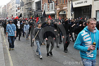 Anti-Cuts Protests in London Editorial Stock Photo