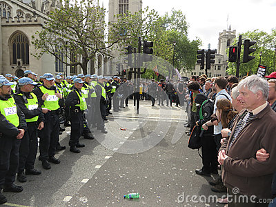 Anti Fascists square up against police during  the BNP during a Editorial Image