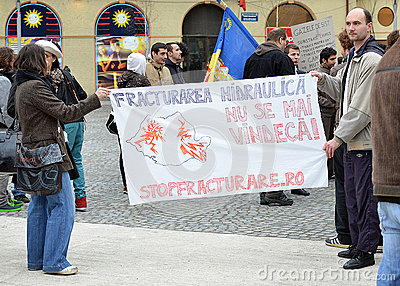 Anti Fracking Demonstration and against Rosia Montana Gold Corporation Editorial Stock Image