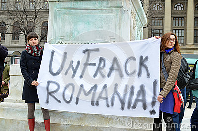 Anti Fracking Demonstration and against Rosia Montana Gold Corporation Editorial Stock Photo
