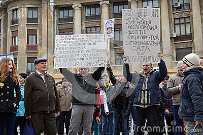 Anti Fracking Demonstration and against Rosia Montana Gold Corporation Editorial Photography