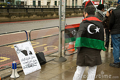 Anti-Gaddafi demonstrator, London Editorial Stock Image