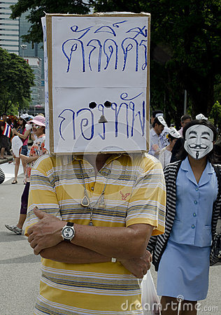Anti-government protestor at Rally Editorial Stock Photo
