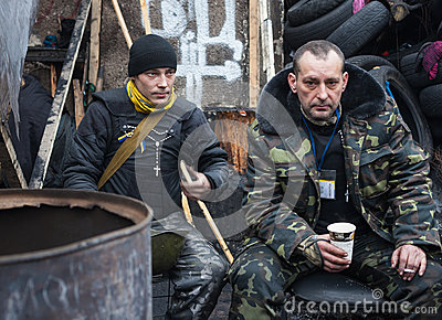 Anti-government protests in the center of Kiev Editorial Stock Photo