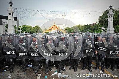 Anti-Government Verzameling in Bangkok Redactionele Stock Afbeelding