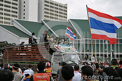 Anti-Government Verzameling in Bangkok Redactionele Afbeelding