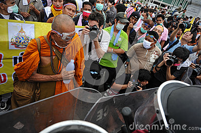 Anti-Government Verzameling in Bangkok Redactionele Stock Afbeelding