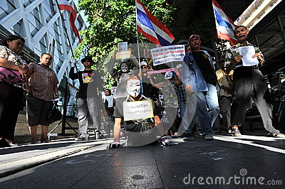 Anti-Government  White Mask  Protest in Bangkok Editorial Photography