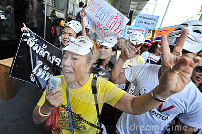 Anti-Government  White Mask  Protest in Bangkok Editorial Stock Photo