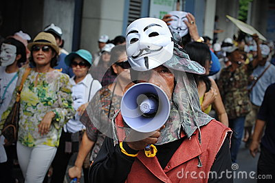 Anti-Government White Mask Protest in Bangkok Editorial Stock Photo