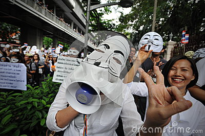 Anti-Government  White Mask  Protest in Bangkok Editorial Image
