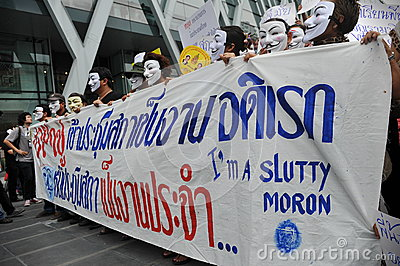 Anti-Government  White Mask  Protest in Bangkok Editorial Stock Image