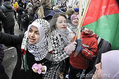 Anti-Israel occupation of Gaza Rally. Editorial Photography