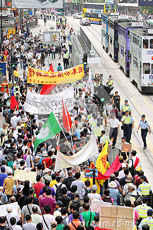 Anti Japan Protests in Hong Kong Editorial Stock Photo