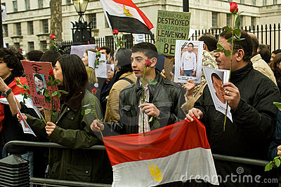 Anti-Mubarak demonstration, London Editorial Stock Photo