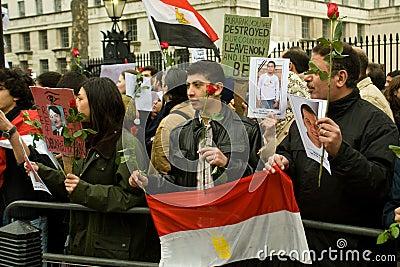 Anti-Mubarak demonstration, London Editorial Stock Photo