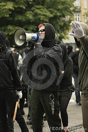 Anti-muslim counterdemonstration Editorial Stock Photo